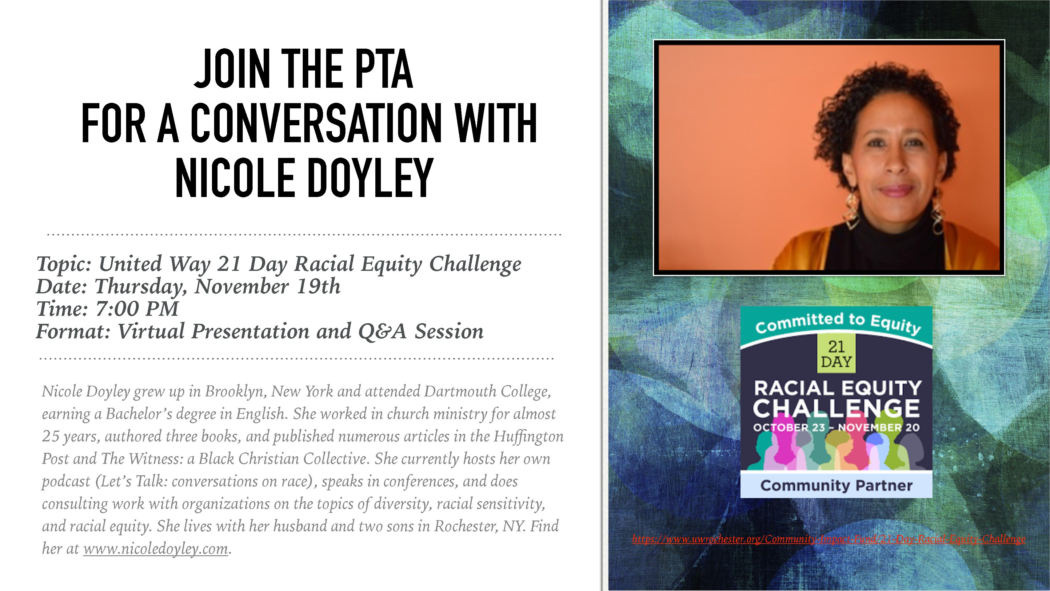 Join the PTA for a conversation with Nicole Doyley